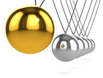 3d Newtons cradle with gold ball close up Stock Photography
