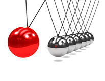 3d Newtons cradle with swinging red ball Royalty Free Stock Photography