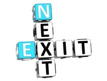 3D Next Exit Crossword. On white background Royalty Free Stock Images
