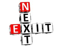 3D Next Exit Crossword. On white background Royalty Free Stock Photos