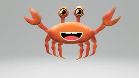 3D nice crab. 3D nice orange crab to 3D animation or 3D aquarium stock illustration