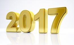 3d - nieuw jaar 2017 concept - goud Royalty-vrije Stock Fotografie