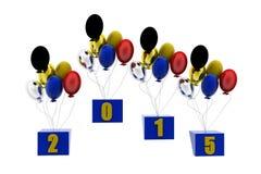3d nieuwe concept van jaarballons Royalty-vrije Stock Foto