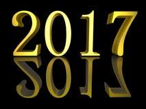 3D Nieuwjaar 2017 van de illustratie Gouden tekst Royalty-vrije Stock Foto