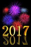 3D Nieuwjaar 2017 van de illustratie Gouden tekst vuurwerk Stock Afbeeldingen