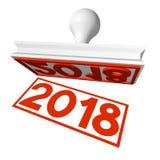 3D 2018 Nieuwjaarillustratie Stock Foto