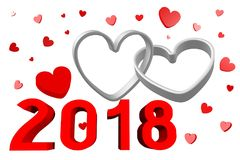 3D 2018 Nieuwjaarillustratie royalty-vrije illustratie