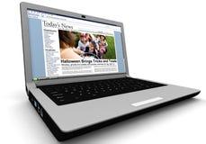 3d: Nieuwsverhaal op Laptop: Jonge geitjestruc of het Behandelen op Halloween Royalty-vrije Stock Afbeelding
