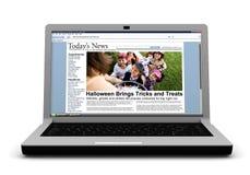 3d: Nieuwsverhaal op Laptop: Jonge geitjestruc of het Behandelen op Halloween Royalty-vrije Stock Foto's