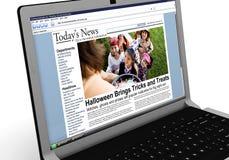 3d: Nieuwsverhaal op Laptop: Jonge geitjestruc of het Behandelen op Halloween Stock Foto's