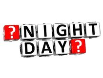 3D Night Day Button Click Here Block Text. Over white background Royalty Free Stock Photography