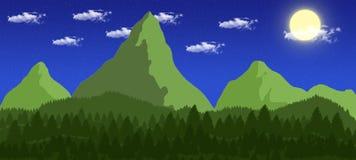 2D night forest illustration vector illustration