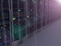3d night vision of computer network servers. 3d rendering of night vision of rows of powerful computer network servers system machine Stock Photos