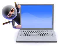 3d Ninja assassin behind laptop pc Royalty Free Stock Images
