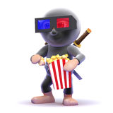 3d Ninja assassin eats popcorn at the movies Stock Photo