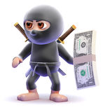 3d Ninja assassin has a wad of US Dollars. 3d render of a ninja assassin character holding a wad of US Dollars Royalty Free Stock Photo
