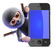 3d Ninja assassin hides behind smartphone Stock Photos