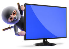 3d Ninja assassin hiding behind lcd tv Royalty Free Stock Photos