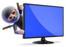 3d Ninja assassin hiding behind lcd tv Royalty Free Stock Photos