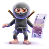 3d Ninja assassin holds Euro bank notes Royalty Free Stock Image