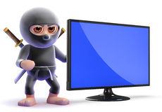 3d Ninja assassin next to a flatscreen lcd tv Royalty Free Stock Photography