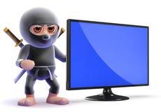 3d Ninja assassin next to a flatscreen lcd tv. 3d render of a ninja next to flatscreen lcd tv monitor Royalty Free Stock Photography