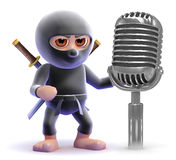 3d Ninja assassin with retro radio microphone Stock Photo