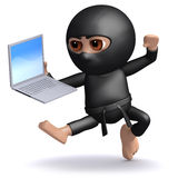 3d Ninja attacks his work Royalty Free Stock Images