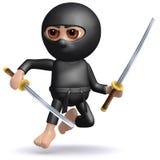 3d Ninja leaps into action Stock Photos