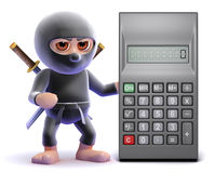 3d Ninja math. 3d render of a ninja with a giant calculator Stock Photo