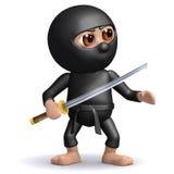 3d Ninja med katana Arkivfoton