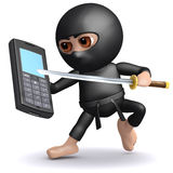 3d Ninja mobile. 3d render of a ninja with mobile phone Stock Images