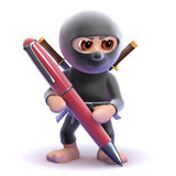 3d Ninja pen. 3d render of a ninja writing with a pen Stock Photo