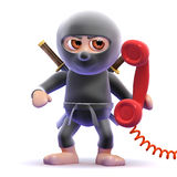 3d Ninja phone. 3d render of a ninja answering the phone Stock Photo