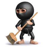 3d Ninja sweeps up after a fight. 3d render of ninja with broom Royalty Free Stock Images