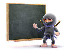 3d Ninja training. 3d render of a ninja at a blackboard Stock Image