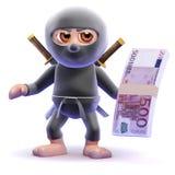 3d Ninja zabójca trzyma Euro banknoty Obraz Royalty Free