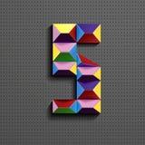 3d nombre géométrique coloré cinq des briques de bâtiment 3d réaliste numéro cinq nombre de puzze nombres isométriques 3d illustration stock