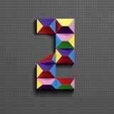 3d nombre géométrique coloré deux des briques de bâtiment 3d réaliste numéro neuf nombre de puzze nombres isométriques 3d illustration libre de droits
