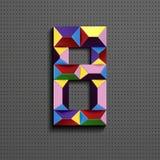 3d nombre géométrique coloré huit des briques de bâtiment 3d réaliste numéro huit nombre de puzze nombres isométriques 3d illustration stock