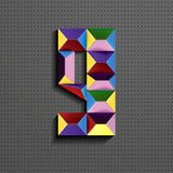 3d nombre géométrique coloré neuf des briques de bâtiment 3d réaliste numéro neuf nombre de puzze nombres isométriques 3d illustration de vecteur