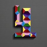 3d nombre géométrique coloré quatre des briques de bâtiment 3d réaliste numéro quatre nombre de puzze nombres isométriques 3d illustration libre de droits