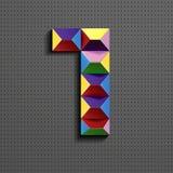 3d nombre géométrique coloré sept des briques de bâtiment 3d réaliste numéro sept nombre de puzze nombres isométriques 3d illustration stock