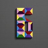 3d nombre géométrique coloré six des briques de bâtiment 3d réaliste numéro six nombre de puzze nombres isométriques 3d illustration stock