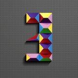 3d nombre géométrique coloré trois des briques de bâtiment 3d réaliste numéro trois nombre de puzze nombres isométriques 3d illustration libre de droits