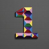 3d nombre géométrique coloré un des briques de bâtiment 3d réaliste numéro un nombre de puzze nombres isométriques 3d illustration stock