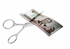 3D North Korean Currency with pairs of Scissors Royalty Free Stock Photography