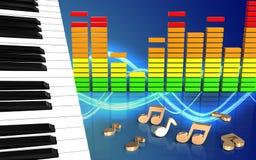 3d nota chaves do piano Imagem de Stock