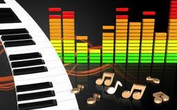 3d nota o teclado de piano Imagens de Stock