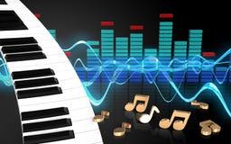 3d nota o teclado de piano ilustração stock